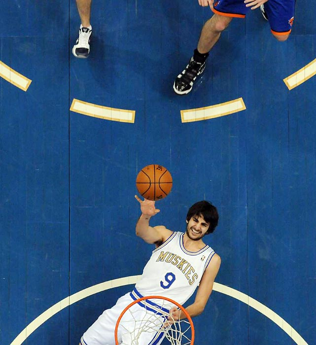 Timberwolves rookie Ricky Rubio puts up a shot against New York. Rubio and the Wolves fell to Jeremy Lin and the Knicks 100-98.