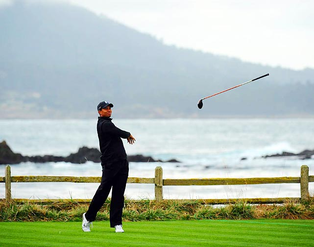 Tiger couldn't restrain himself on the 18th tee in the third round of the Pebble Beach National Pro-am, flinging his driver into the fairway in frustration.
