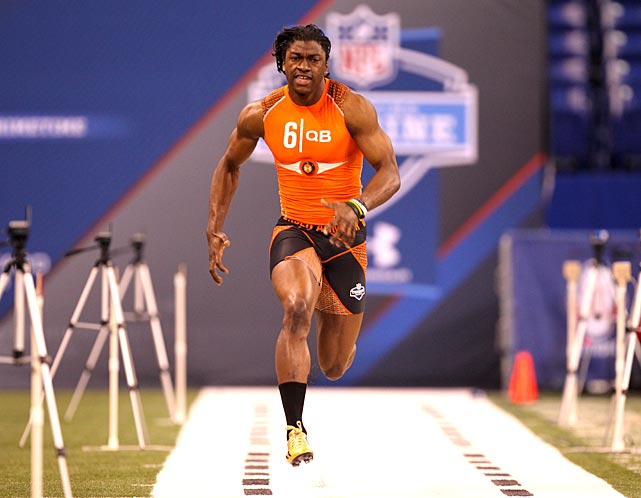 Robert Griffin III runs the 40-yard dash at the NFL Combine in Indianapolis. RGIII clocked an unofficial time of 4.38 seconds, the fastest 40 time by a quarterback since Michael Vick ran a 4.33 in 2001.