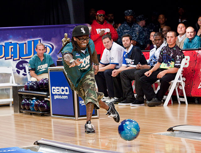 Wayne shows off his bowling skills at the 2010 Chris Paul Celebrity Bowling Invitational in New Orleans.