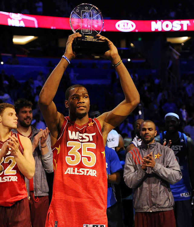 Kevin Durant, who scored 36 points, was named MVP as the West beat the East 152-149.