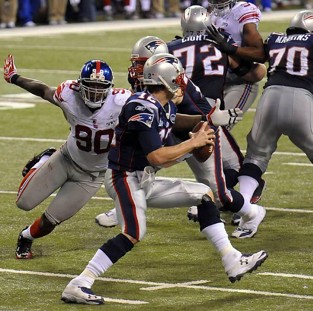 Jason Pierre-Paul turns the heat up on Brady in the second half. The Giants sacked him twice.