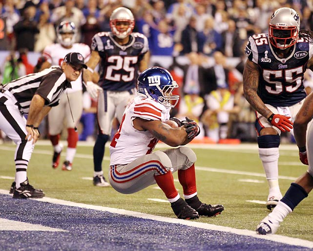 His momentum carried his across the line, giving the Giants the lead but leaving 57 seconds on the clock for Brady to try to work some last-minute magic.