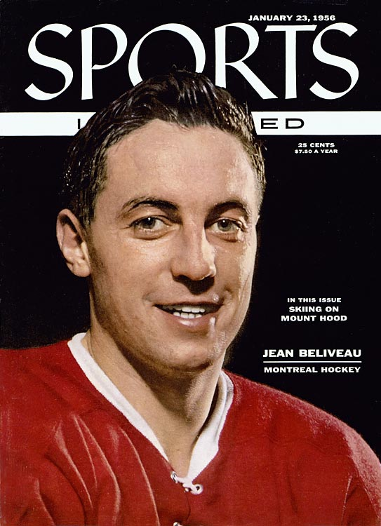 Jean Béliveau was the first hockey player to appear on the cover of Sports Illustrated.  This Jan. 23, 1956 cover was hardly a jinx, as Beliveau went on to win the Hart Memorial Trophy (MVP) and Art Ross Trophy (Top Point Scorer) following the season.