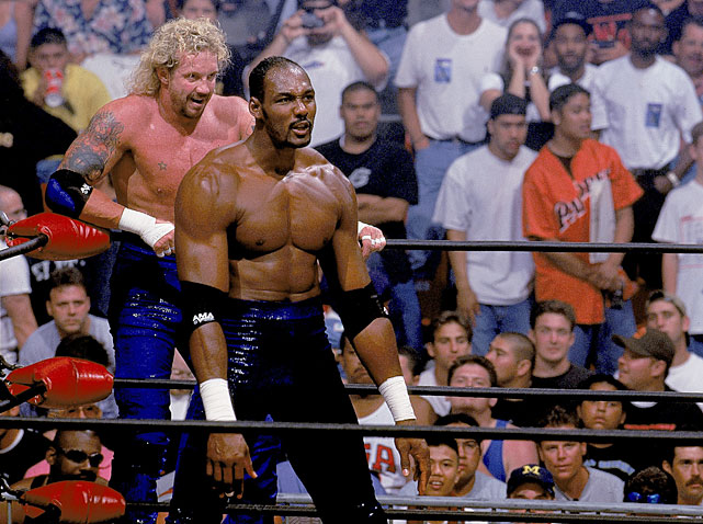 The Mailman delivered the pain during his one pro wrestling match, losing to the team of Dennis Rodman and Hollywood Hulk Hogan at the WCW's Bash at the Beach in 1998.