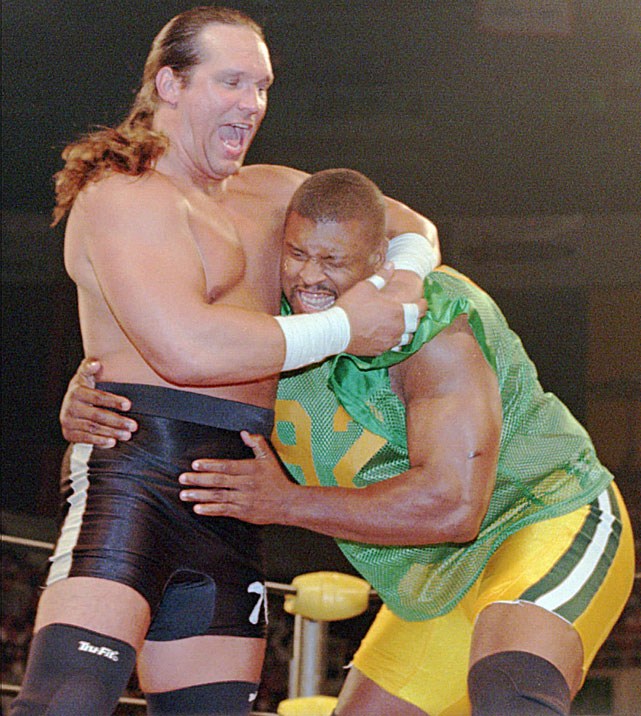 "After first entering the wrestling ring in 1995 to support fellow NFL star Lawrence Taylor, McMichael decided to make it a career and joined WCW as a commentator. After getting formal training at the WCW Power Plant, Mongo debuted in the summer of 1996 and stayed on as a wrestler until early 1999. One of his most high profile matches took place in May 1997, when he beat Reggie White at Slamboree. For White, who also appeared in LT's corner during WrestleMania in 1995, his match against McMichael was enough as the ""Minister of Defense"" never appeared in the squared circle again."