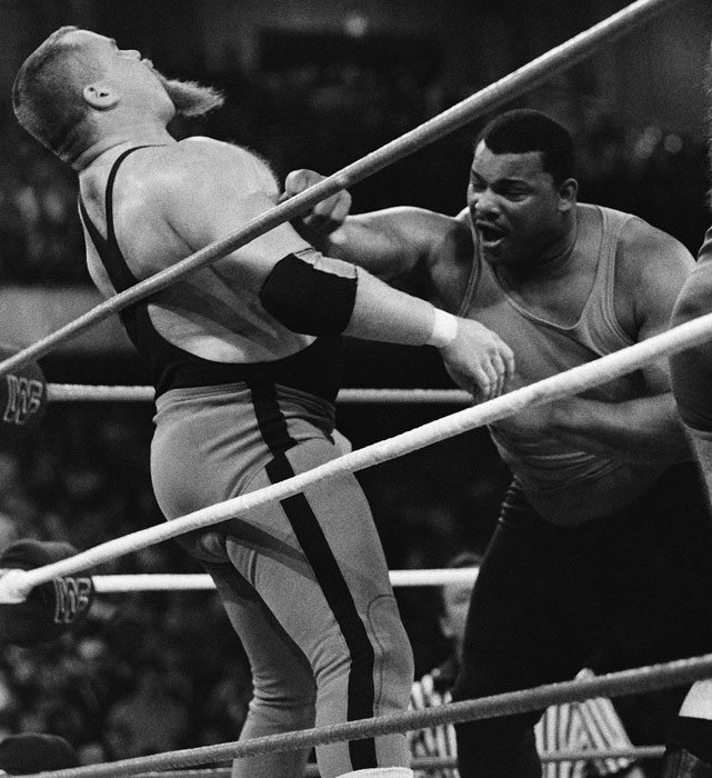 "One of the first major appearances by pro athletes in the wrestling ring took place during the battle royal WrestleMania II. Among the NFL players participating in the match were William ""Refrigerator"" Perry (pictured with Jim ""The Anvil"" Neidhart), Bill Fralic, Russ Francis, Jimbo Covert, Ernie Holmes and Harvey Martin. In the end, none of the gridiron greats could stop 500-pound Andre the Giant, who won this groundbreaking event."