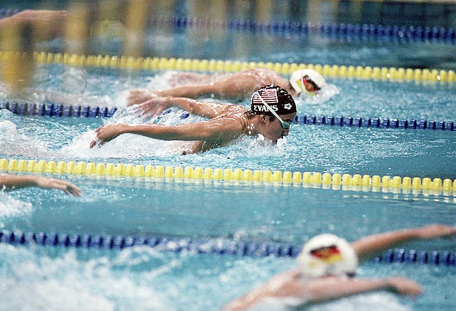 Evans swims the butterfly portion of the 400-meter individual medley final at the Seoul Games.