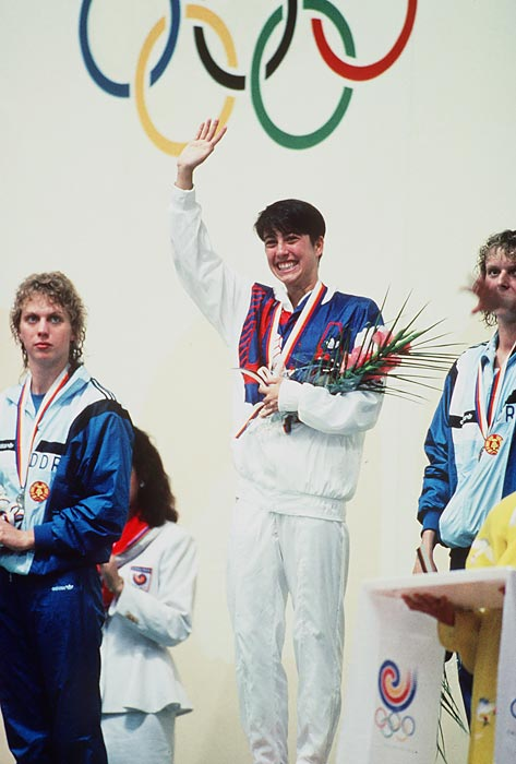 Evans celebrates her victory in the 400-meter individual medley at the 1988 Seoul Olympics.