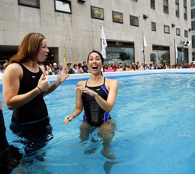 Evans (right) and Kate Zeigler stand in a temporary pool in Rockefeller Center in New York City. Evans began training for the 2012 trials in early 2011, but will face an uphill battle to qualify for the London games.