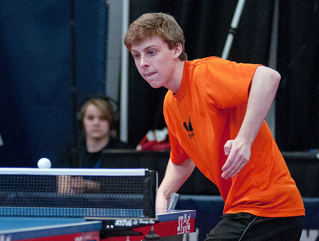 New York native Michael Landers eyes the ball during a match on Feb. 12. The 2011 U.S. national junior champion finished the tournament in first place to qualify for the North American trials.
