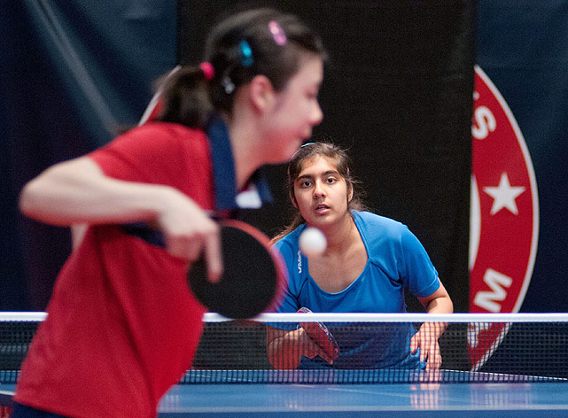 Prachi Jha (right) awaits a serve from 16-year-old Ariel Hsing on Feb. 12. Hsing, one of four women who qualified for the North American trials, finished the tournament with a 9-2 record. Jha finished the tournament in ninth place.