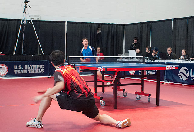 Adam Hugh (left) and Timothy Wang exchange volleys during a match on Feb. 12. Wang prevailed, but both players qualified for the North American trials.