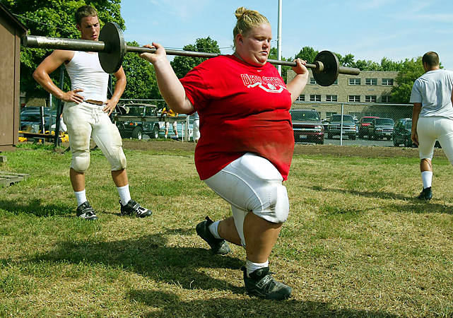 "Mangold, the sister of Jets center Nick, is the second-ranked overall lifter who will challenge Robles at 75kg . She gained notoriety for playing high school football (as seen training in this 2007 photo) and appearing on MTV's ""True Life"" in 2011. Mangold, 22, still lives in trains and Columbus."