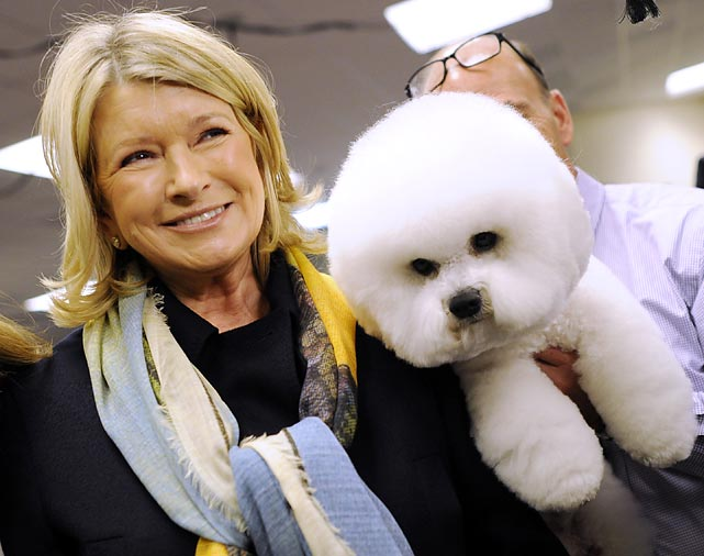 Martha Stewart hangs out with a Bichon Frises. Wonder how many trading secrets are hidden in that fuzzy little head.