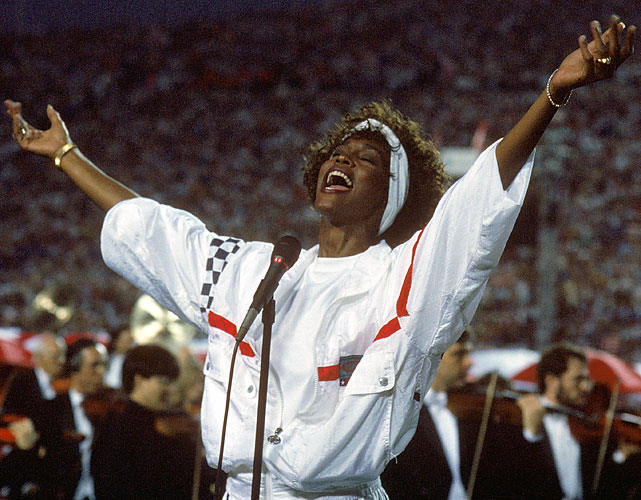 "Whitney Houston   performed the most memorable Super Bowl rendition of the ""The Star-Spangled Banner""   at the Giants-Bills game at Tampa Stadium."