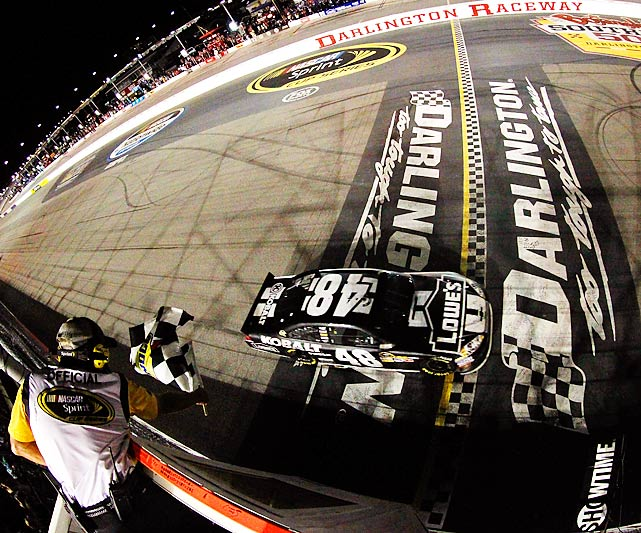 After months of frustration, Johnson ended his own 16-race winless drought and gave Hendrick Motorsports its 200th victory as he pulled away on a green-white-checkered restart. It was the 56th career win for Johnson, all of which have come with HMS.