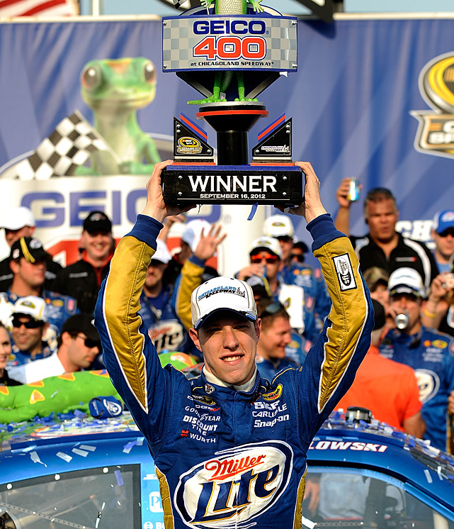 Brad Keselowski kicked off the Chase for the Championship with his first Sprint Cup victory at Chicagoland Speedway. Keselowski took the lead from five-time champion Jimmie Johnson on a pit cycle with 35 laps remaining and held on for the victory, which pushed Keselowski to the top spot of the Sprint Cup points standings.