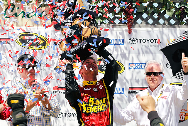 Clint Bowyer raced to his first victory on a road course, and first with Michael Waltrip Racing, holding off Kurt Busch at Sonoma. Bowyer dominated Sunday's race, but defending race winner Busch was all over his bumper late. A caution with four laps remaining set up a final restart and overtime finish, and forced Bowyer to earn the victory. He raced side-by-side with Busch at the green flag, but cleared Busch and pulled away for the win.