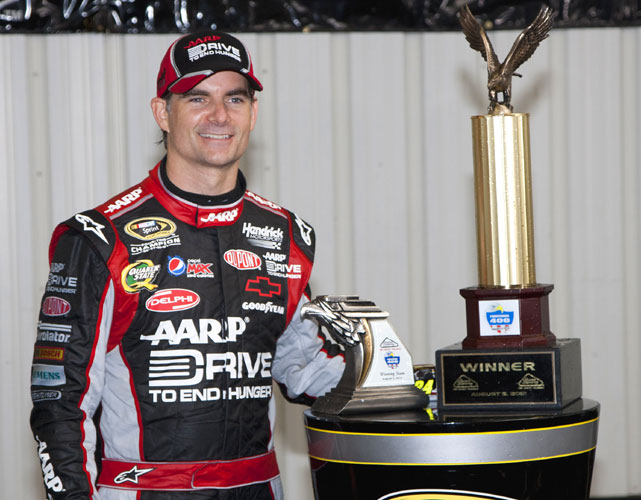 Jeff Gordon took advantage of an accident sparked by teammate Jimmie Johnson and a touch of timely rain at Pocono Raceway to win his first race of the season. The race was called with 98 of the 160 scheduled laps completed. Gordon earned his 86th career victory.