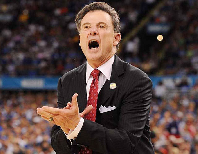 Louisville coach Rick Pitino barks orders from the sidelines of the Superdome in New Orleans. Pitino watched as his Cardinals fell short against coach John Calipari and Kentucky, the school Pitino coached to the 1996 national championship.
