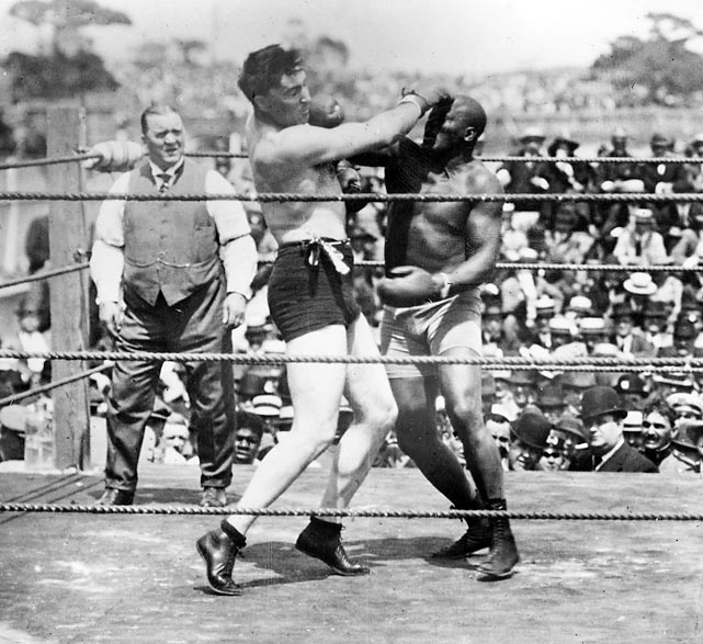 Heavyweight champion 1908-15. Pro record: 77 wins, 48 KOs, 13 losses, 14 draws, 19 no-decisions.