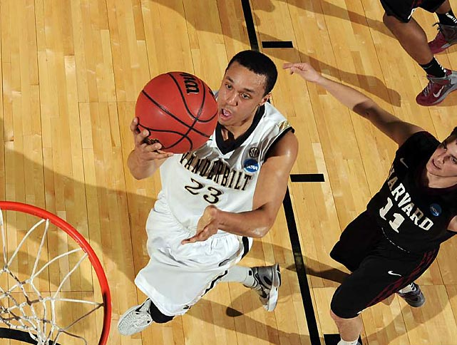 "Vanderbilt guard John Jenkins had a huge game to lead the Commodores over Harvard in the so-called ""Brain Bowl,"" scoring 27 to put Vandy in the second round."