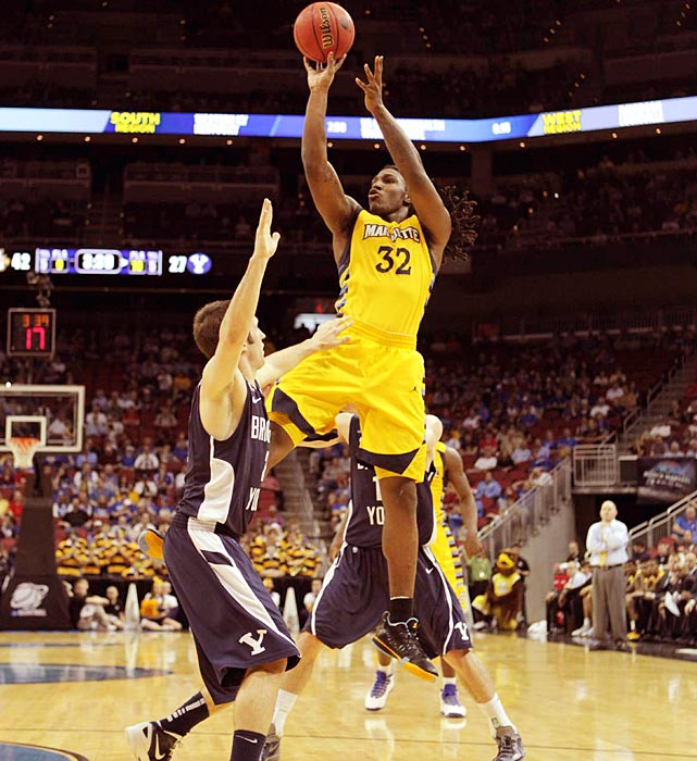 Jae Crowder paced Marquette in its comfortable win over BYU, notching 25 points and 14 rebounds to put the Golden Eagles into the second round.