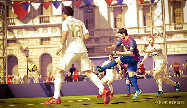"FIFA Street is the latest iteration of EA's urban soccer series, and, while it's not as maniacally over-the-top as NBA Street, it manages to bring some worthy wrinkles of its own to the table. Teams compete not just for goals, but for ""style"" points accrued by fancy footwork and opponent humiliation. The arenas are much smaller than the official FIFA game, with a much more visceral style of gameplay. The size of the goals vary widely, depending on whether you're playing on a basketball court or a rooftop in Japan, so every match plays a little differently. There are several different modes, including an awesome one which subtracts a player from your team with every goal you score. The game is made for multiplayer, and it's easy to imagine it being a big hit on frat house couches and online. It's not the deepest game, and surely won't take any purchases from FIFA 12 or PES, but it's enjoyable and approachable in areas where those titles can be more complex and intimidating.  Score: 7 out of 10"