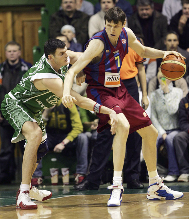 The 7-foot Slovenian center played with Olimpija Ljubljana from 1988-90 before moving to Italy and playing pro ball there.