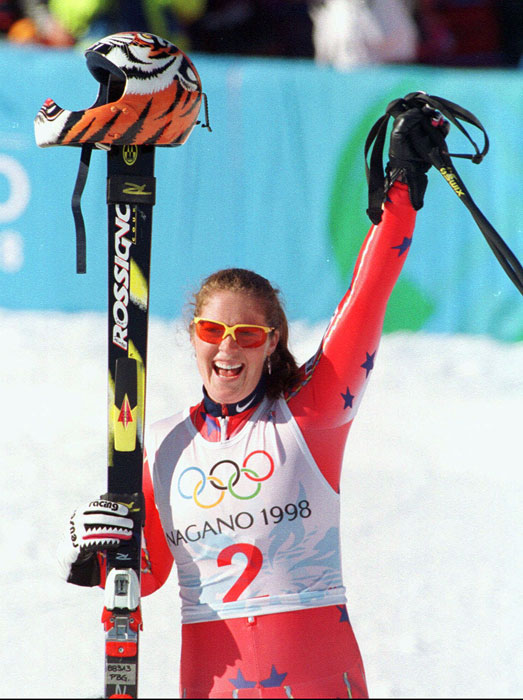 The retired Alpine skier won an Olympic gold medal in the Super G in 1998 and a World Championship gold medal in the downhill in 1996. She was named after a village near her hometown in Idaho.