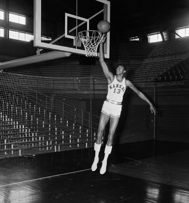 Chamberlain played two seasons for the Jayhawks and averaged 30 points and 18 rebounds per game.