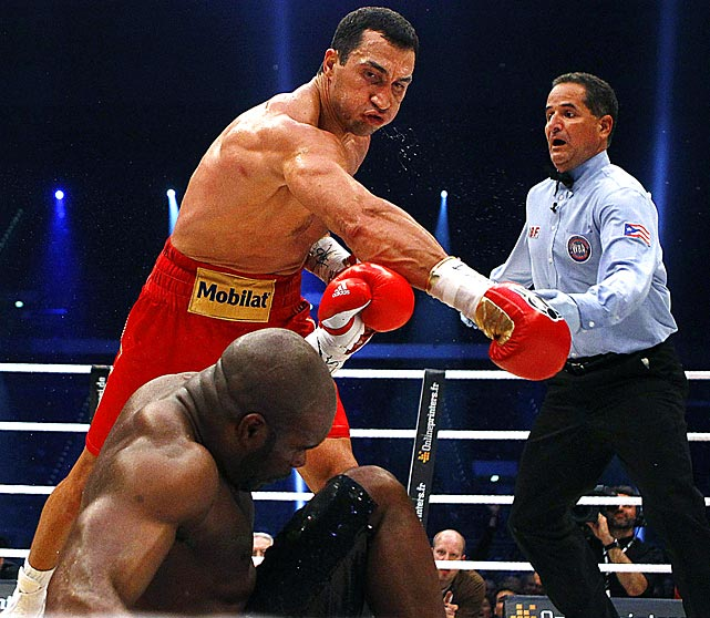 Heavyweight title holder Vladimir Klitschko lands the knockout punch on Jean-Marc Mormeck during the fourth round of their IBF/WBO, WBA and IBO championship fight in Dusseldorf, Germany.