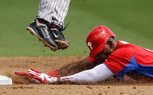 Phillies outfielder Domonic Brown steals second base during Philadelphia's spring training game against Florida State University.