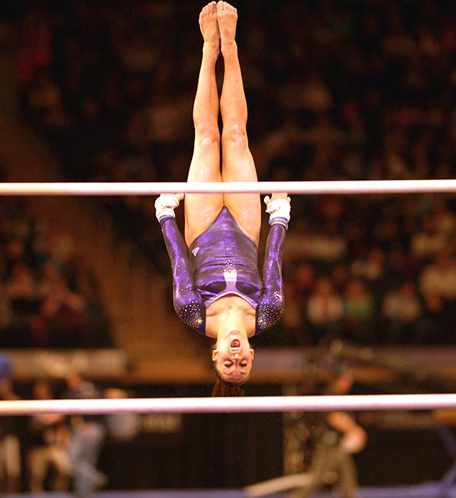 American gymnast Jordan Wieber competes on the uneven bars at the ATT American Cup competition at Madison Square Garden.