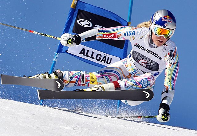 American skier Lindsey Vonn speeds down the slope during the second run of the Women's Giant Slalom World Cup event in Oftershwang, Germany.