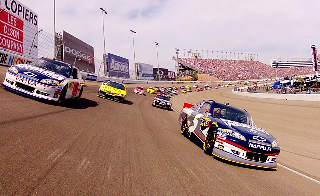 A view from the bumper of the of pole sitter Kasey Kahne during the opening pace laps of the NASCAR Sprint Cup Series Kobalt Tools 400 at the Las Vegas Motor Speedway.