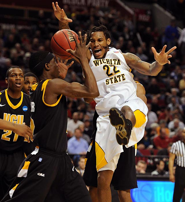 Wichita State's Carl Hall plays intimidating defense against VCU in the NCAA tournament.