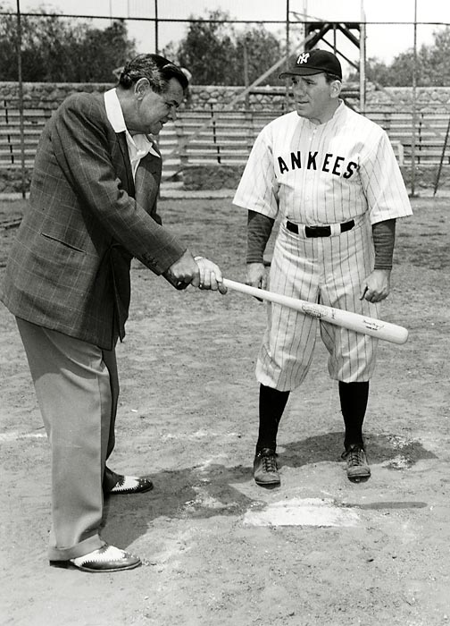 Ruth gives hitting advice to actor William Bendix, who played the Yankees legend in the 1948 movie The Babe Ruth Story.