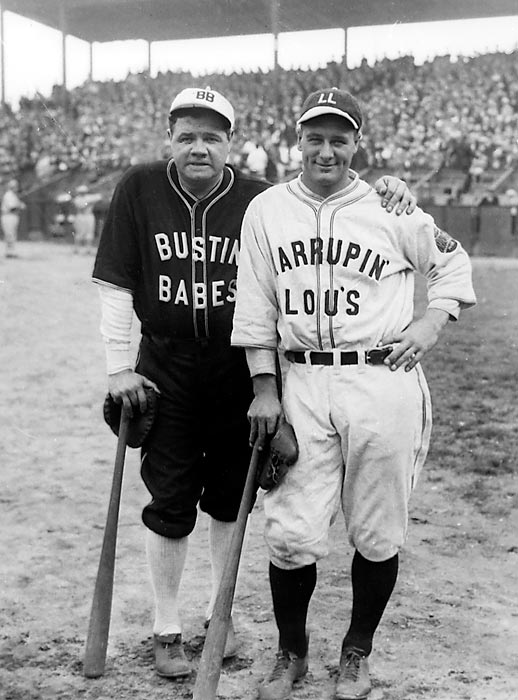 "Yankee stars Ruth and Lou Gehrig pose in their ""Bustin' Babes"" and ""Larrupin Lous"" uniforms from their 1927 barnstorming tour. The teams, which consisted mostly of local amateurs and minor leaguers, played 21 games across the country immediately after the Yankees swept the Pirates in the World Series."