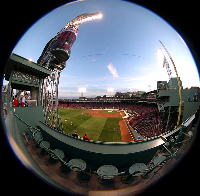 A fisheye view of Fenway Park during batting practice before Game 2 of the 2007 World Series. The Red Sox swept the Rockies for their second title in four seasons.