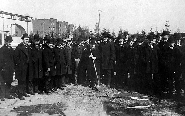 This season marks the 100-year anniversary of Fenway Park. In this 1913 photo, a group of politicians and baseball officials break ground on the new park.