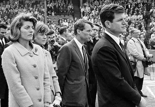 Pat Lawford and Jean Smith, sisters of late president John F. Kennedy, join Robert and Ted Kennedy during a pregame ceremony for the deceased president.