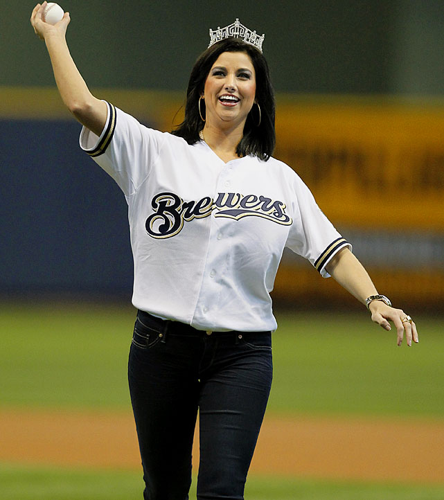 Miss America Laura Kaeppeler throws out the ceremonial first pitch on the Milwaukee Brewers opening day game against the St. Louis Cardinals.