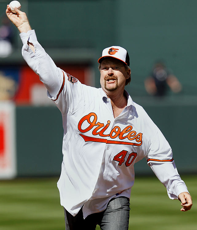 Former Baltimore Orioles pitcher Rick Sutcliffe throws out the ceremonial first pitch before the start of the Orioles and Minnesota Twins opening day game at Camden Yards.