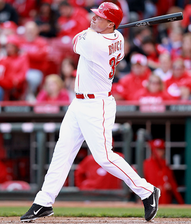 Reds outfielder Jay Bruce homered and drove in two runs as Cincinnati beat the Miami Marlins 4-0 in front to 42,956 fans, the second-largest crowd at Great American Ball Park.