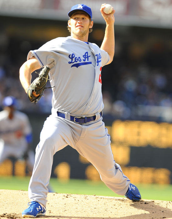 Dodgers pitcher Clayton Kershaw started the game despite battling the flu. He was taken out after three scoreless innings against the Padres.