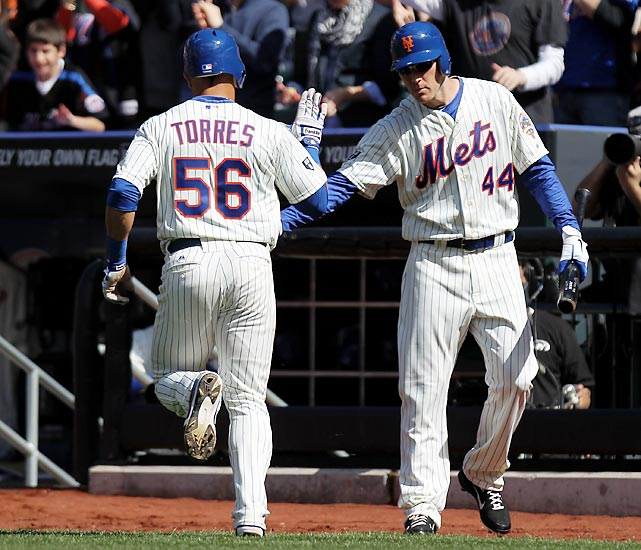 The Mets scored the first run of the day, snapping a string of 38 scoreless half-innings across baseball. David Wright did the honors with a single that plated Andres Torres.