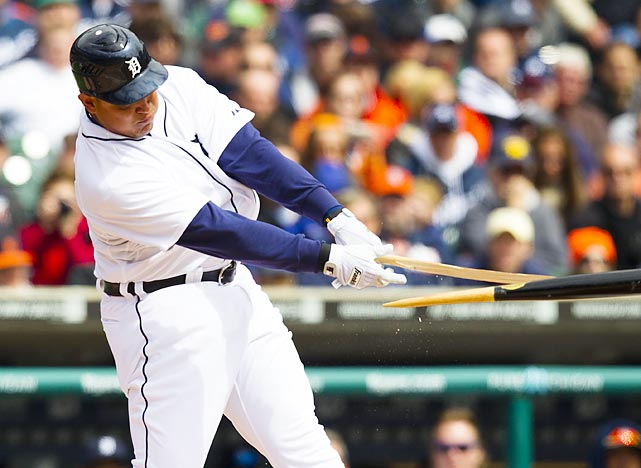 Miguel Cabrera's highly anticipated move to third base didn't get off to a great start. Jacoby Ellsbury hit a foul pop not far from the third base bag and Cabrera stumbled around and fell backward to make the catch. Two pitches later, Cabrera was charged with an error on a  ball hit directly at him.