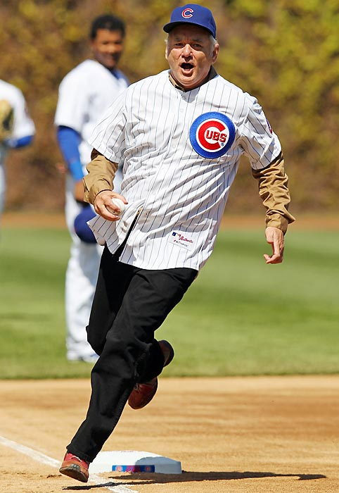 "Bill Murray ran around the bases, slid into home,  threw out the ceremonial first pitch and also sang ""Take Me Out To The Ball Game,"" during the seventh inning stretch of the Cubs game."